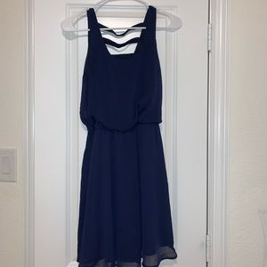 Small Navy Blue Sleeveless Junior's Dress
